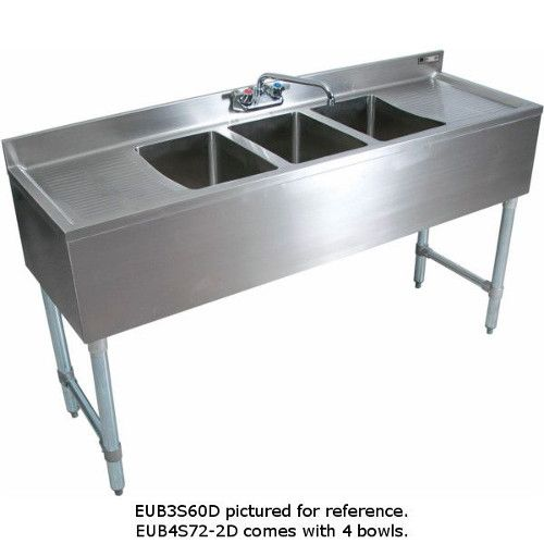 John Boos EUB4S96SL-2D Slim-Line Underbar Four Compartment Sink with Two 25