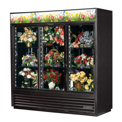 True GDM-69FC-HC-LD Three Section Sliding Door Floral Merchandiser
