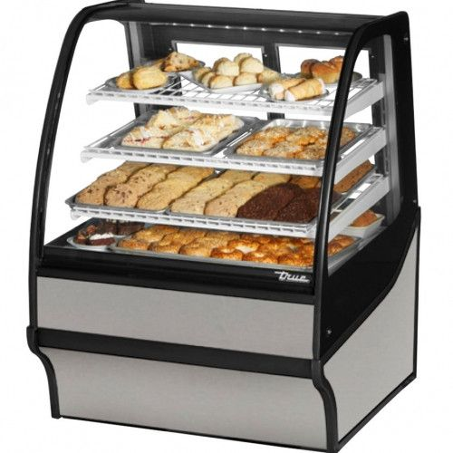 True TDM-DC-36-GE/GE-S-W Non-Refrigerated Stainless Steel Display Merchandiser w/ White Shelves