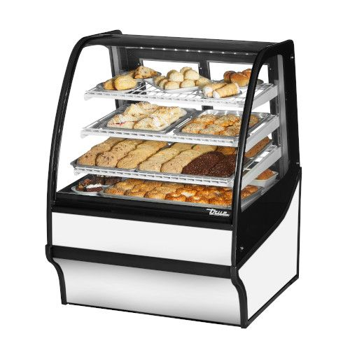 True TDM-DC-36-GE/GE-W-W Non-Refrigerated White Display Merchandiser w/ White Shelves