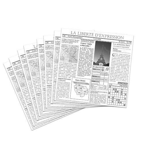 GET 4-TF1600 Food-Safe French Newsprint 12X12 Basket Liner