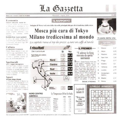GET 4-TI1808 Food-Safe Italian Newsprint 12X12 Basket Liner