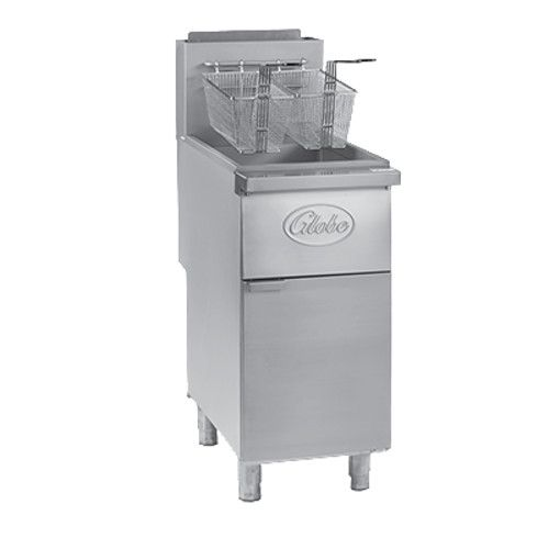 Globe GFF50PG Liquid Propane 50 lb. Stainless Steel Floor Fryer
