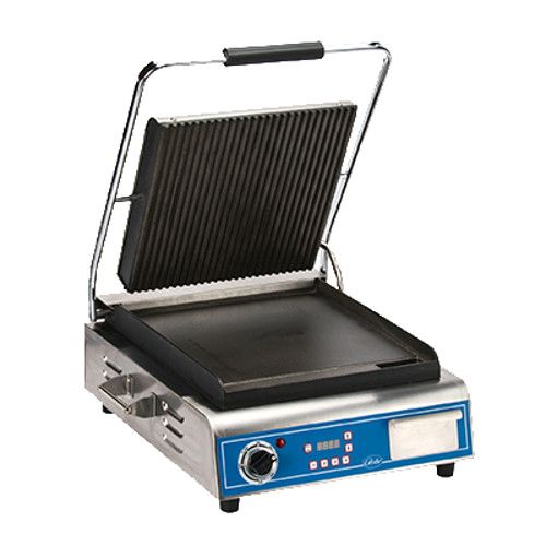 Globe GPGS14D Single Countertop Sandwich / Panini Grill with Grooved Top and Smooth Bottom