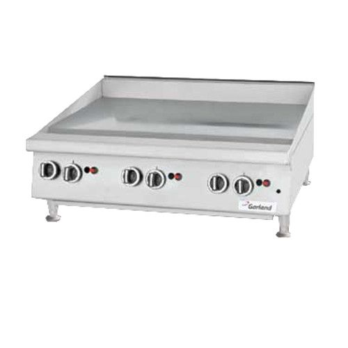 Garland GTGG36-GT36M Heavy-Duty Gas Countertop Griddle with Thermostatic Controls - 84,000 BTU