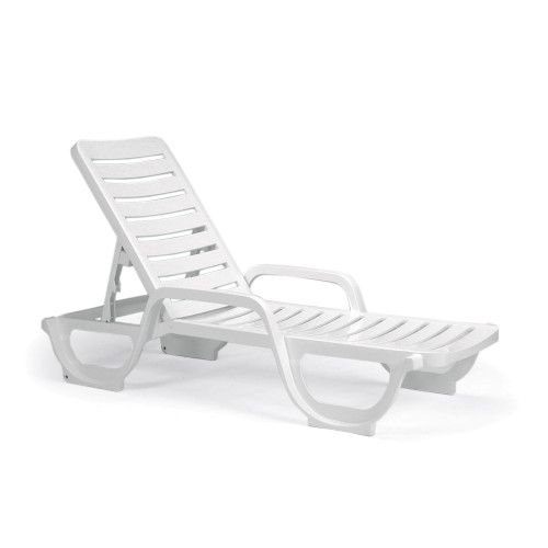 Grosfillex 44031104 White Bahia Adjustable Outdoor Chaise (18 per case)