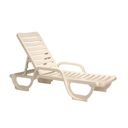 Grosfillex 44031166 Sandstone Bahia Adjustable Outdoor Chaise (18 per case)