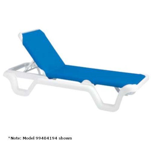 Grosfillex 99404099W Marina Custom Chaise w/ White Frame (14 per case)