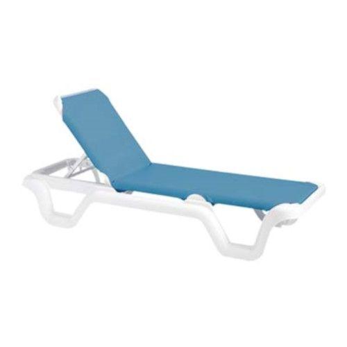 Grosfillex 99404194 Marina Sky Blue Chaise w/ White Frame (14 per case)