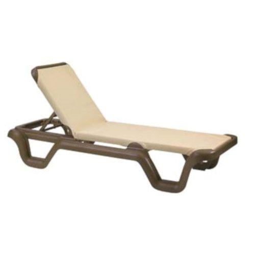 Grosfillex 99414137 Marina Khaki Chaise w/ Bronze Mist Frame (14 per case)