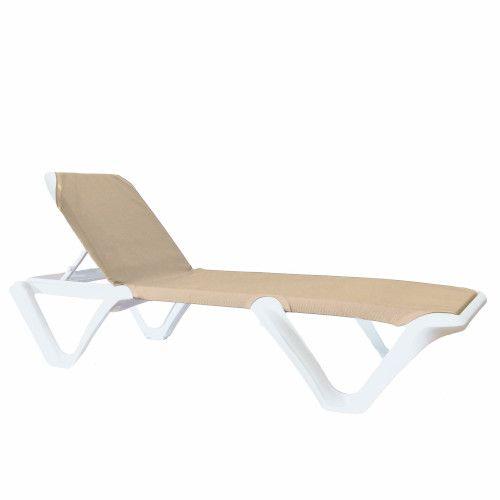 Grosfillex 99904004 Nautical Pro Khaki Chaise w/ White Frame (1 dozen)