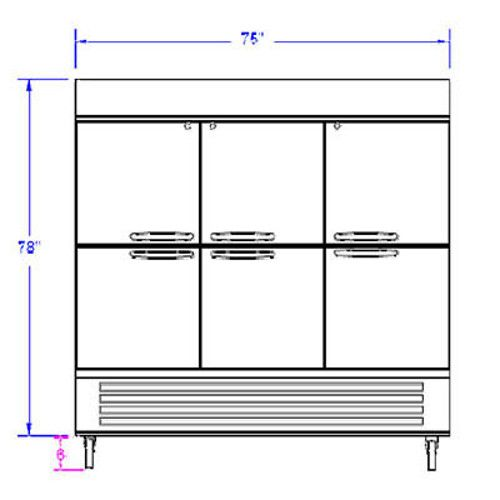 Beverage Air HBF72HC-5-HS Half Solid Three Section Reach-In Freezer (Replaces HBF72-1-HS)