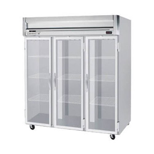 Beverage Air HR3HC-1G Glass Door Three Section Reach-In Refrigerator (Replaces HR3-1G)