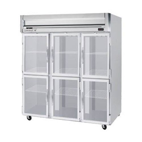 Beverage Air HRP3HC-1HG Half Glass Three Section Reach-In Refrigerator (Replaces HRP3-1HG)
