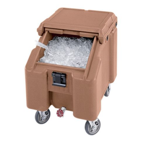 Cambro ICS100L157 100 lb Capacity SlidingLid Mobile Ice Caddy (Coffee Beige)