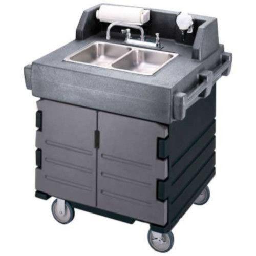 Cambro KSC402426 2 Compartment CamKiosk Hand Sink Cart (Granite Gray / Black)