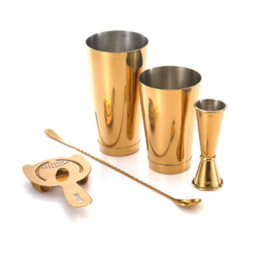 Mercer M37101GD 5-Piece Barfly Basics Set with Gold-Plated Finish