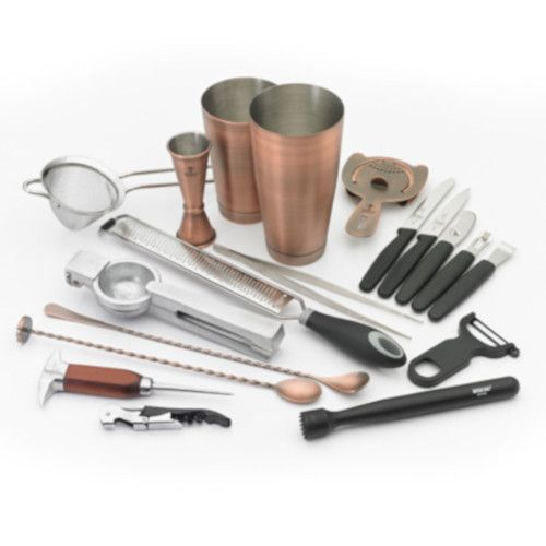 Mercer M37102ACP 18-Piece Barfly Deluxe Set with Antique Copper-Plated Finish