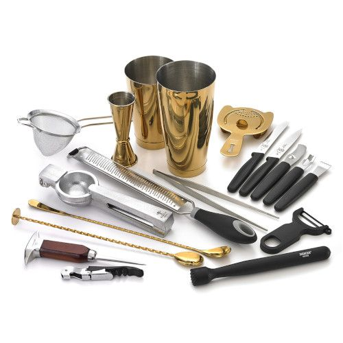 Mercer M37102GD 18-Piece Barfly Deluxe Set with Gold-Plated Finish