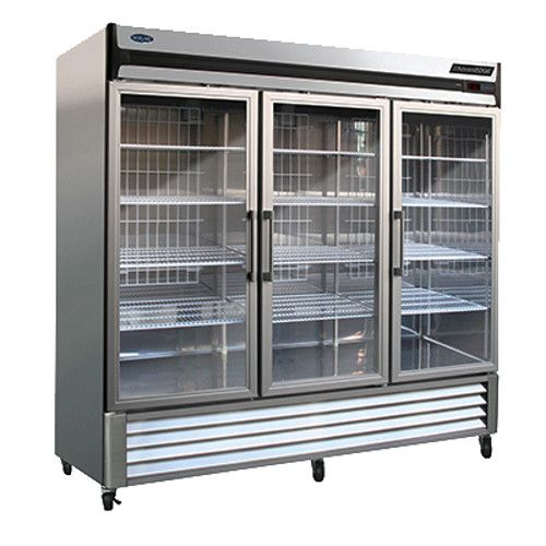 Nor-Lake NLR72-G Three Section Glass Door Reach-In Refrigerator