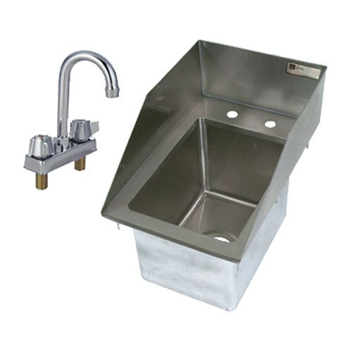 John Boos PB-DISINK101410-P-SSLR One-Compartment Drop-In Sink with Economy Gooseneck Faucet