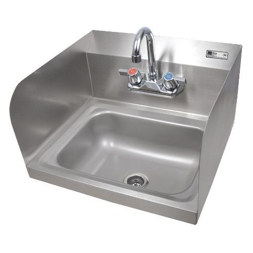 John Boos PBHS-W-1410-P-SSLR Wall Mount Pro-Bowl Hand Sink with Left and Right Side Splashes