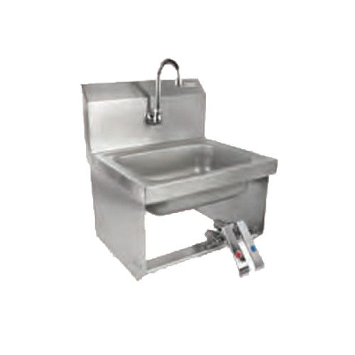 John Boos PBHS-W-KVMB-SSP Wall Mount Pro-Bowl Hand Sink with Gooseneck Spout and Knee Valves