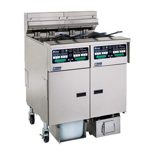 Pitco SELV14TC-2/FD Reduced Oil Volume Electric Split Pot Fryer - 2 Fryers
