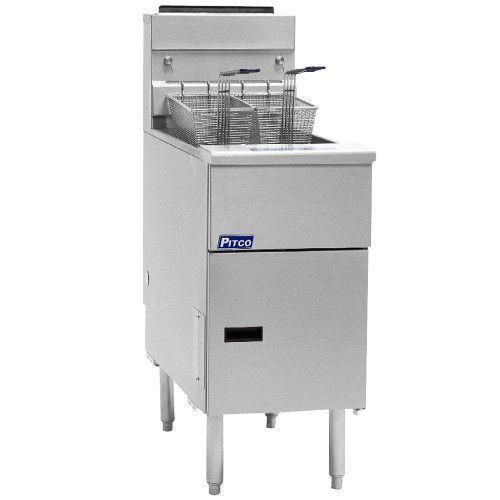 Pitco SSH55R Supreme High Efficiency Gas Floor Model Fryer - 40-50 lb Oil Capacity