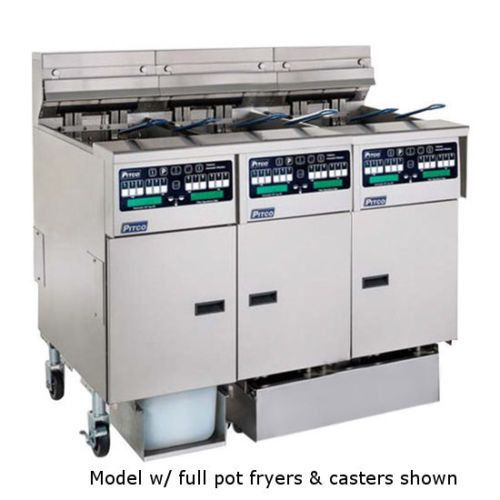 Pitco SSHLV14C/14T-2/FD Low Oil Volume Multi-Battery Gas Fryer & Filter 3 Fryers
