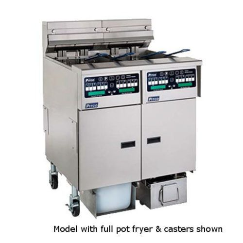 Pitco SSHLV14T-C/FD Reduced Oil Volume Gas Split Frypot Fryer & Filter