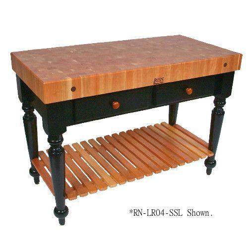 John Boos RN-LR05-SSL Rouge et Noir Le Rustica Boos Block Utility Table with Undershelf 24