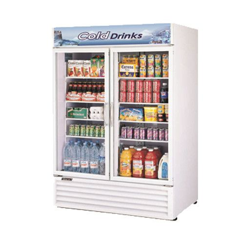 Turbo Air TGM-50RS-N White Two Glass Swing Door Refrigerated Merchandiser