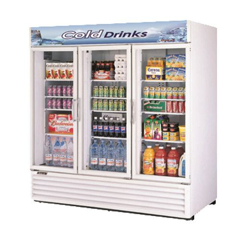 Turbo Air TGM-72RS-N White Three Glass Door Refrigerated Merchandiser