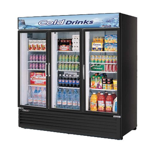 Turbo Air TGM-72RSB-N Black Three Glass Door Refrigerated Merchandiser