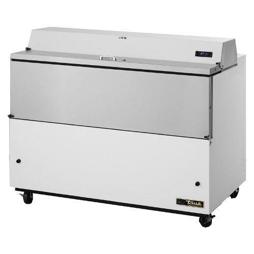 True TMC-49-HC Forced Air White Exterior & Aluminum Interior Mobile Milk Cooler