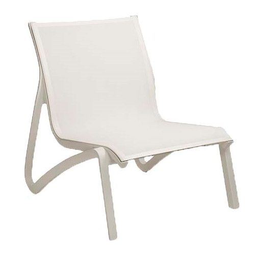Grosfillex US001096 White Sunset Armless Lounge Chair (4 per case)