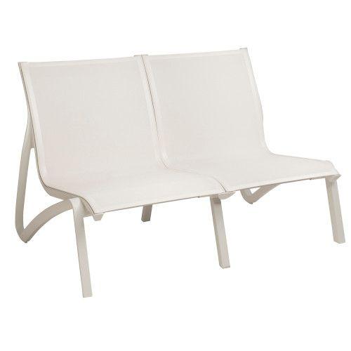Grosfillex US002096 White/Galcier White Sunset Armless Loveseat (2 per case)