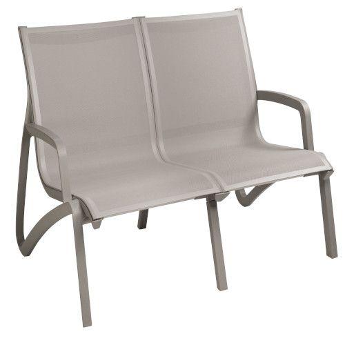 Grosfillex US002289 Gray/Plat Gray Sunset Armless Loveseat (2 per case)