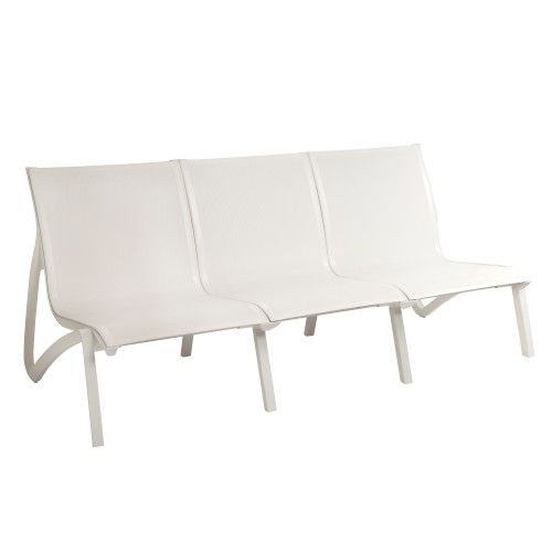 Grosfillex US003096 White/Glacier White Sunset Armless Sofa (2 per case)