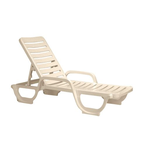 Grosfillex US031066 Bahia Stacking Adjustable Sandstone Chaise (2 per case)