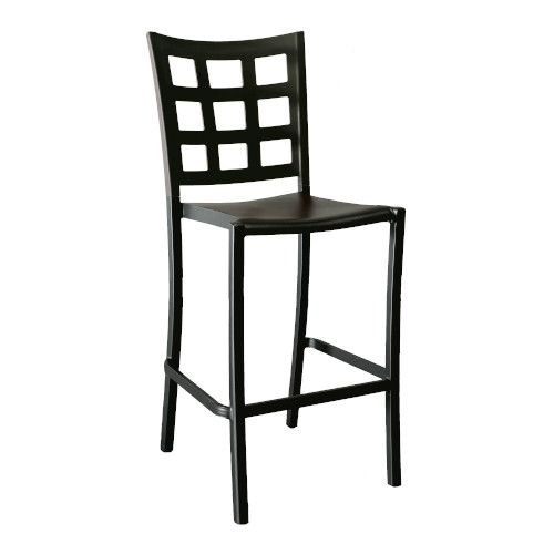 Grosfillex US046017 Plazza Black Stacking Barstool (2 per case)