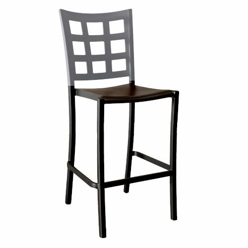 Grosfillex US046579 Plazza Titanium Gray/Charcoal Stacking Barstool (2 per case)