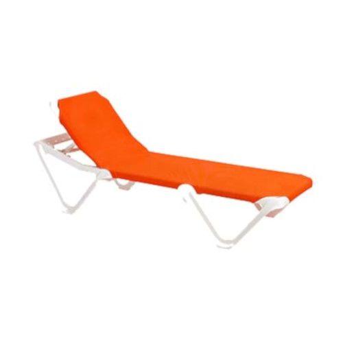 Grosfillex US101019 Nautical Adjustable Sling Chaise - Orange w/ White Frame (1 dz.)
