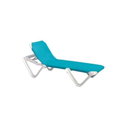 Grosfillex US101241 Nautical Adjustable Sling Chaise - Turquoise w/ White Frame (1 dz.)