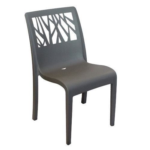 Grosfillex US117002 Vegetal Charcoal Stacking Sidechair (4 per case)