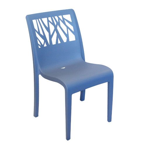Grosfillex US117680 Vegetal Denim Blue Stacking Sidechair (4 per case)