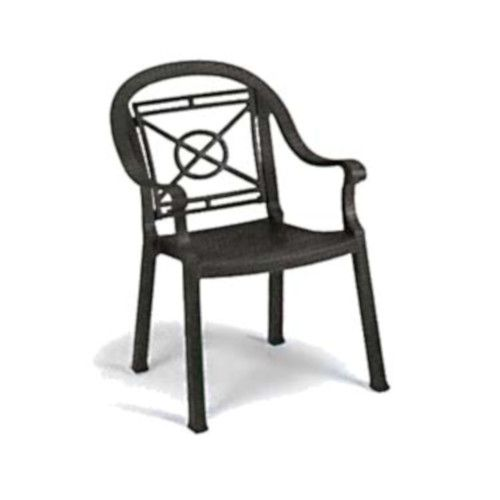 Grosfillex US214002 Charcoal Victoria Stacking Armchair (4 per case)