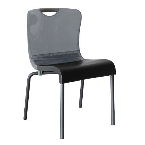 Grosfillex US228208 Smoke/Charcoal Krystal Stacking Chair (4 per case)