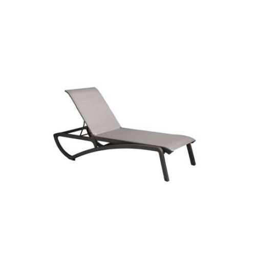 Grosfillex US246288 Solid Gray/Volcanic Black Sunset Chaise Lounge (2 per case)